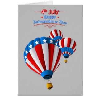 Cartão Bandeira americana balão de ar quente animado do 4