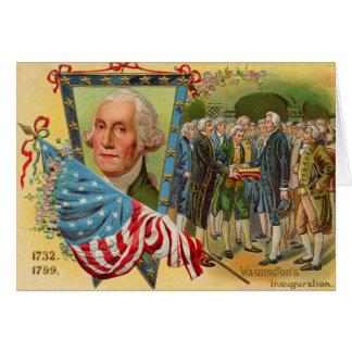 Cartão Bandeira americana da inauguração de George