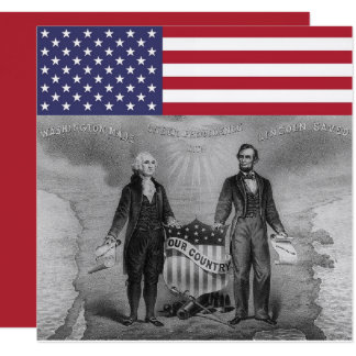 Cartão Bandeira americana de George Washington Abraham