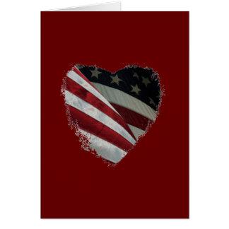 Cartão Bandeira americana do coração