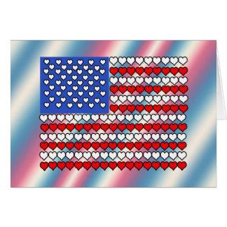Cartão Bandeira americana feita dos corações