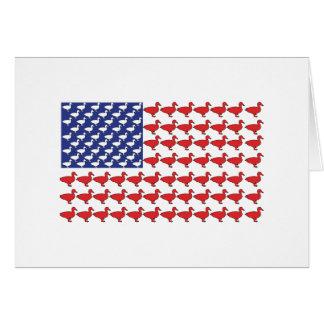 Cartão Bandeira americana feita fora dos patos