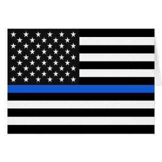 Cartão Bandeira americana fina de Blue Line