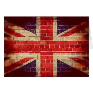Cartão Bandeira BRITÂNICA do vintage em uma parede de
