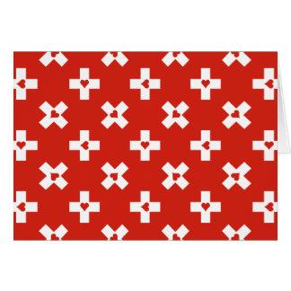 Cartão Bandeira da suiça com vazio do teste padrão do