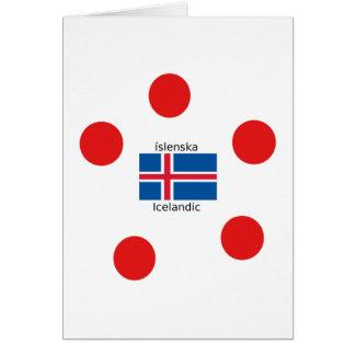 Cartão Bandeira de Islândia e design islandês da língua