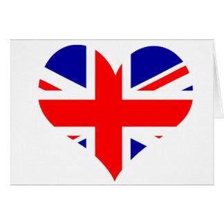 Cartão Bandeira do coração de Union Jack