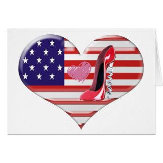 Cartão Bandeira do coração dos EUA e calçados vermelhos