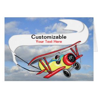 Cartão Bandeira do reboque do biplano customizável