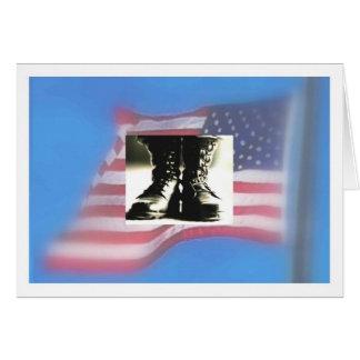Cartão Bandeira dos E.U., botas de combate militares
