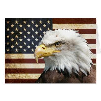 Cartão Bandeira dos E.U. EUA do vintage com americano