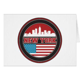 Cartão Bandeira dos Estados Unidos da skyline | de New