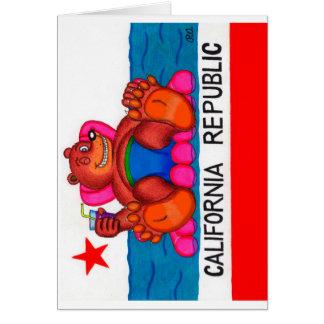 Cartão Bandeira dos pés do urso de Califórnia