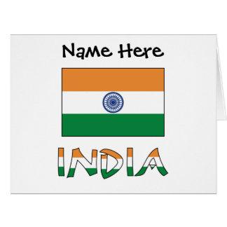 Cartão Bandeira e India indianos com nome