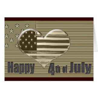 Cartão Bandeira feliz e coração dos EUA do 4 de julho