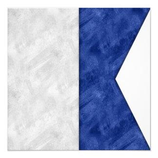 Cartão Bandeira marítima do sinal náutico da aguarela