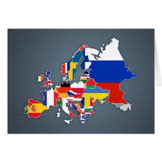 Cartão Bandeiras de país européias do mapa  