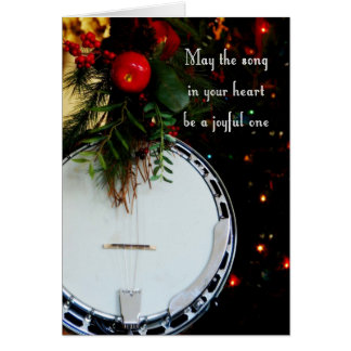 Cartão Banjo alegre do feriado da canção do Feliz Natal