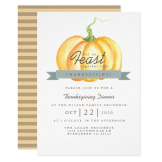 Cartão Banquete da acção de graças da abóbora | da