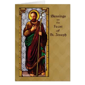 Cartão Banquete de St Joseph com funcionarios do trigo em