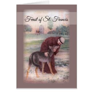 Cartão Banquete feliz de St Francis, oração Brown da paz