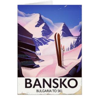 Cartão Bansko Bulgária a esquiar