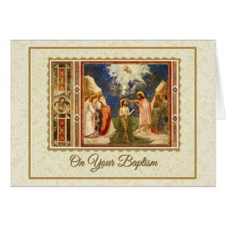 Cartão Baptismo adulto de Jesus por John The Baptist