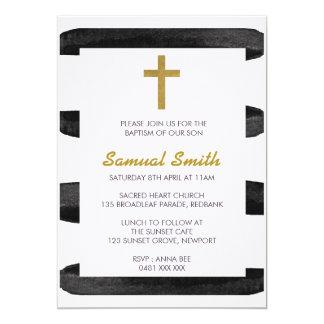 Cartão Baptismo do ouro branco/convite pretos do batismo