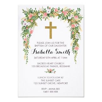 Cartão Baptismo floral do ouro cor-de-rosa/convite do