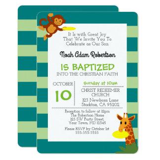 Cartão Baptismo personalizado macaco da selva do Frisbee