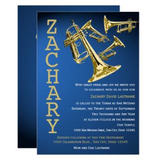 Cartão Bar de ouro azul Mitzvah da música da mania da