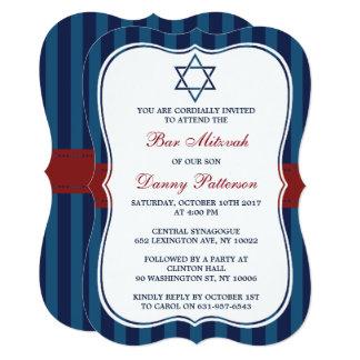Cartão Bar judaico Mitzvah do vermelho, o branco & o azul