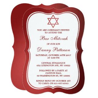 Cartão Bar judaico vermelho metálico Mitzvah da estrela