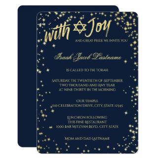 Cartão Bar Mitzvah dos azuis marinhos do céu da faísca do