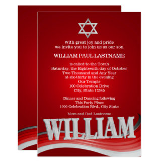 Cartão Bar vermelho Mitzvah da onda de aço de William