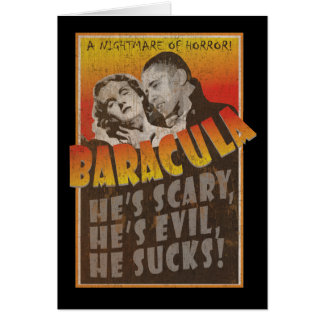 Cartão Baracula - o Dia das Bruxas feliz Barack Obama