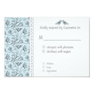 Cartão Barato azul feliz da resposta dos pássaros RSVP