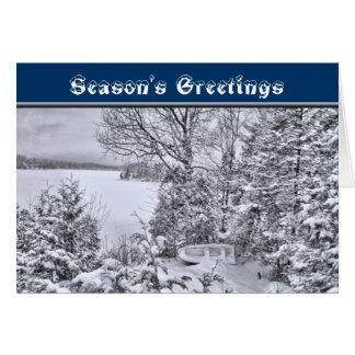 Cartão Barco de pesca, floresta do inverno, tempestade de