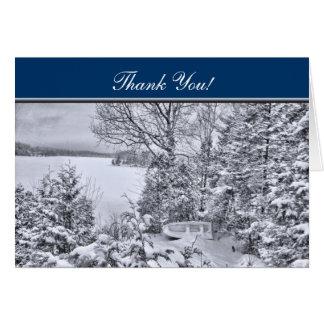 Cartão Barco de pesca na floresta, obrigado do White