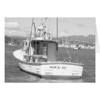 Cartão Barco de pesca, Whitianga, Nova Zelândia B & W