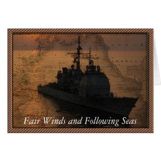 Cartão Barco do Armada com ventos justos e depois dos