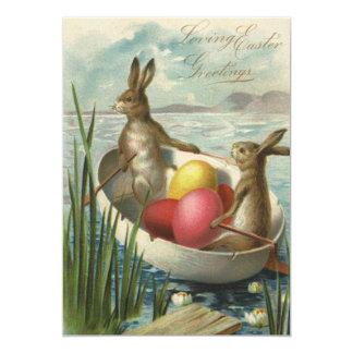 Cartão Barco dos coelhinhos da Páscoa do vintage com