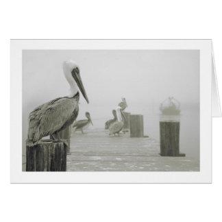 Cartão Barco dos pelicanos e do camarão