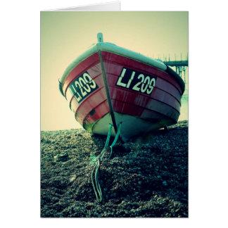 Cartão Barco na praia