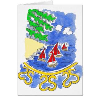 Cartão Barcos de navigação vermelhos no lago
