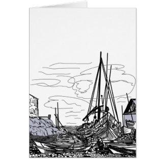 Cartão barcos na água