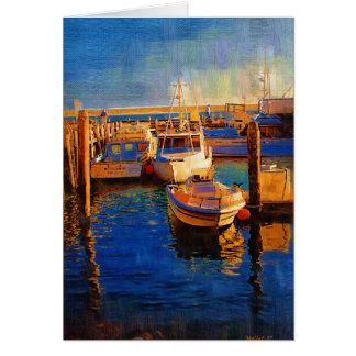 Cartão Barcos, por do sol, baía de Morro, Califórnia