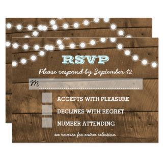 Cartão Barnwood ilumina a entrada RSVP do casamento do