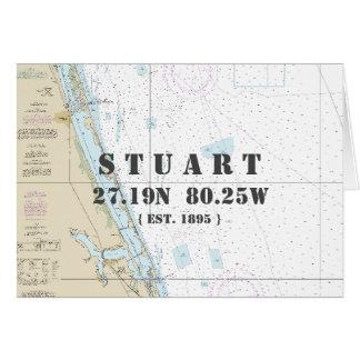 Cartão Barqueiro náutico da carta de navegação de Stuart