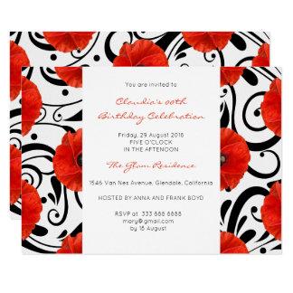 Cartão Barroco branco do preto vermelho real floral da